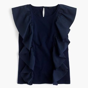 J.Crew rufflefront Navy Blouse sleeveless